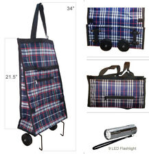Portable Folding Rolling Grocery Shopping Travel Cart Bag with 9 LED Flashlight