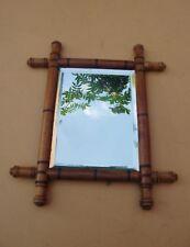 Cadre de miroir original en bambous d'époque et de style Art Déco