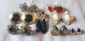 Vintage Lot Clip Pierced Earrings Some Signed ~Laguna~Monet~Segal~Avon 8 Pr