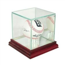 Premium Baseball Glass Display Case with Mirrored Cherry Wood Base & Back
