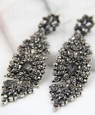 Long Ear Stud Hoop earrings 266 Woman's Black Crystal Rhinestone Silver Plated