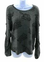 Late August Top Womens Gray with Black Plaid and Floral Long Sleeve