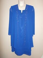 S.L. Fashions Size 14P Blue Embellished Evening/Special Occasion Dress