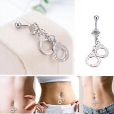 Barbell Button Ring Body Piercing Rhinestone Crystal Handcuffs Navel Belly