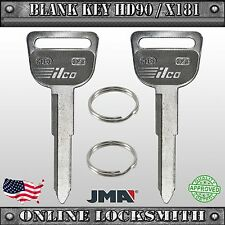 2 New Uncut Replacement Keys For Honda & Acura Vehicles - HD90 / X181 / HD92