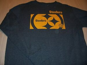 NFL TEAM APPAREL PITTSBURGH STEELERS LS GRAY T-SHIRT MENS XL EXCELLENT