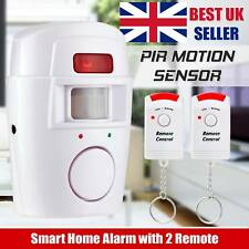 PIR Motion Sensor Wireless Alarm Home Garage Caravan Shed 2 Remote Control UK