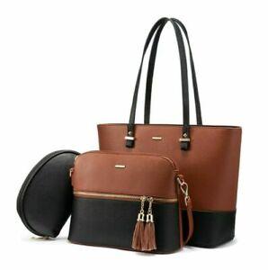 Brown & Black Leather Handbag for Women Hobo Shoulder Bag Large Ladies Purse Set