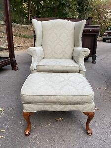 Large Light Sage Green Damask Wingback Chair with Ottoman