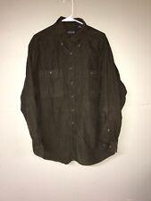 Lands' End Brown Corduroy Shirt Mens Sz L Large Button Front EUC