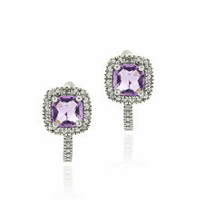 Amethyst & Diamond Accent Huggie Earrings