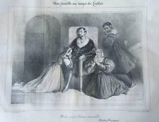 LITHOGRAPHIE THEATRE FRANCAIS FAMILLE AU TEMPS LUTHER