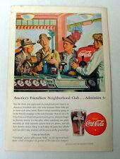 1946 COCA COLA AD FARMER SHOWING FRIENDS PRIZE EAR CORN AT LOCAL COKE FOUNTAIN