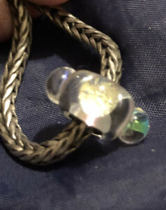 AUTHENTIC TROLLBEADS GLASS DICHROIC ICE CHARM BEAD STERLING SILVER  S925 LAA