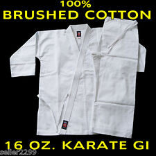 Size 6 WHITE 16 Oz. Gi Made of 100% Brushed Cotton Heavy Weight Karate Uniform