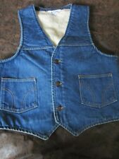 Mens Rugged Vintage Dickies VAQUERO Sherpa Lined Denim Vest by measurement