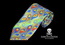 Lord R Colton Masterworks Tie - Capri Silver Bright Prime Paisley Necktie - New