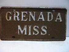 Mississippi Booster License Plate   GRENADA  MISS.       Vintage as5161