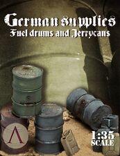 Escala 75 frente de guerra alemán Segunda Guerra Mundial Combustible Tambores & Jerrycans 8 piezas de resina de 1/35th