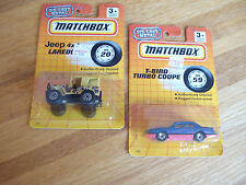 Vintage 1993 Matchbox Die Cast Metal Cars JEEP 4X4 LAREDO & T-BIRD TURBO COUPE