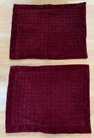 Pottery Barn Burgundy Red Velvet Quilted Windowpane Sham Fits 26 x 20 Pillow