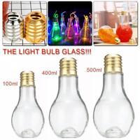 Transparent Light Bulb Shape Glass Beverage Cup Fruit Juice Water Coffee Bottle
