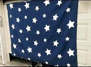 Cotton Stars & Stripes Quilt Navy Blue & White 68x86