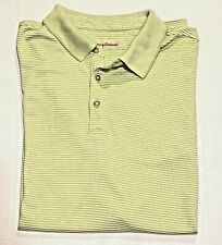 Tommy Bahama Men's Golf Polo Green Striped Ss Shirt Large Modal Blend