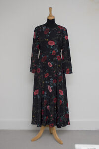 Hobbs Chloe Black and Red floral dress size 8