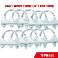 "10Pcs 1 3/4"" 1.75"" Mild Steel U-Bolt Uclamp Muffler Saddle Exhaust Clamp"