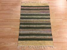 Striped Black Purple Handloomed 100% Cotton Rag RUG Durrie Mat 60x90cm 2x3 50%OF