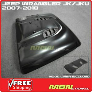 For Jeep JK Wrangler 07-18 Steel Front Rubicon 10th Anniversary Hard Rock Hood