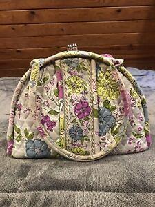 Vera Bradley Watercolor Eloise Purse Handbag Gray Purple Blue Floral Kisslock