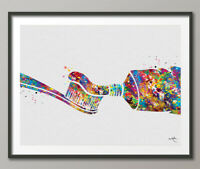 Dental Care Watercolor Print Tooth Medical Art Tooth Brush Dental Clinic-1410