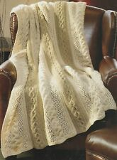 Knitting Pattern ~ Braided Leaf Sophisticate Classic Afghan ~ Instructions