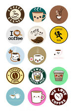 15 x Coffee Bottle Cap Logo Images for Necklaces, Magnets, Scrapbooking, Bow
