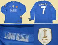 manchester united 2008 2009 shirt  jersey away blue ucl fifa world cup ronaldo