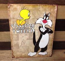 SYLVESTER AND TWEETY BIRD Sign Tin Vintage Garage Bar Decor Old Rustic