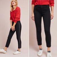 Anthropologie Essential Slim Trouser Side Stripe Women's Black Pants Size 4 EUC
