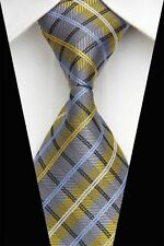 GIFTS FOR MEN Classic Mens All Over Check Necktie Silk Work Tie Gold Blue Black