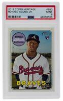 Ronald Acuna Jr. Braves 2018 Topps Heritage Card Slabbed MINT 9 PSA