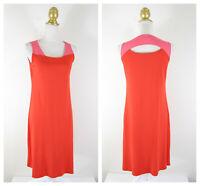 Eileen Fisher Firefly Peony Pink Colorblock Cutout Viscose Jersey Dress XS