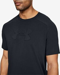 UNDER ARMOUR mens t shirt tee top medium BLACK crew neck short sleeve cotton/pol