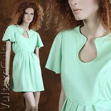 Vintage 60s Mod Hippie Dress Mini Green Empire Tie Back Flutter Sleeve M/L