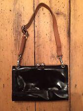 Marks & Spencer Autograph Black Patent Leather Shoulder or Clutch Bag With Strap