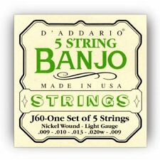 D'Addario J60 5-String Banjo Strings, Nickel, Light, 9-20