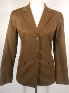 Beautiful Women's Size 6 Talbots Brown Silk Fitted Lined Button Blazer Jacket
