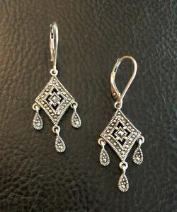 """Sterling Silver Earrings Marcasite Chandelier Leverback 1.5"""" 5g 925 #1851"""