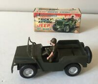 LOUIS MARX ~ BATTERY OPERATED TRICKY ACTION JEEP WITH DRIVER ~ ORIGINAL BOX