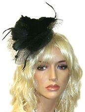 Black Fascinator with Veil and Feathers, Headband, Wedding and Prom Accessories